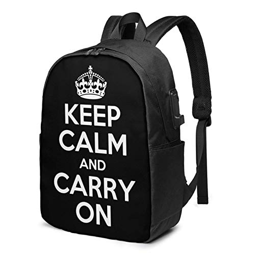 XCNGG Keep Calm and Carry On Travel Laptop Mochila College School Bag Mochila Informal con Puerto de Carga USB