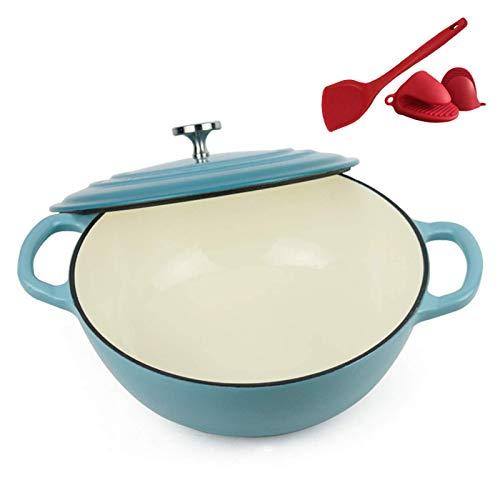 POETRY Casserole en Fonte 26 Cm Casserole en Fonte émaillée avec Couvercle Ustensiles de Cuisine en émail antiadhésif Crock Pot pour la Cuisson et Le badigeonnage Meilleur Cadeau Bleu