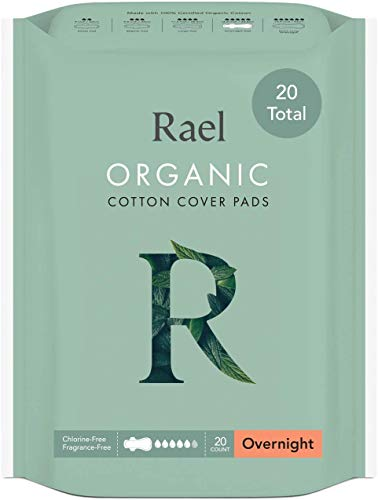 Rael 100% Organic Cotton Menstrual Overnight Pads - Thin Natural Sanitary Napkins With Wings (2 Pack of 8 Pads)