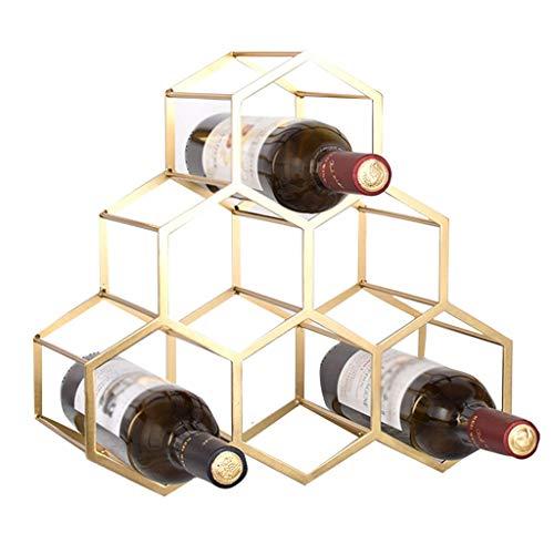 Weinregale Wandschrank, Schlafzimmer Nachttisch Porta Vino Metall Flaschenregal Küche Weinflasche Lagerregal 6 Flaschen Tischdekoration, Wanddekoration (Color : Gold, Size : 35 * 17 * 34cm)