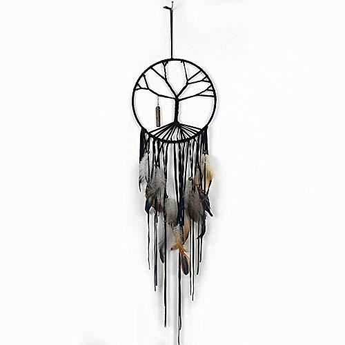 Main Arbre de Vie Catcher Net Circulaire avec des Perles en Plumes de Pierre Naturelle dans Une boîte Cadeau pour Maison Mur Voiture Pendaison décoration Ornement Cadeau