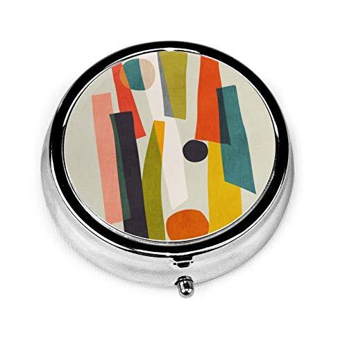 Caja de medicina redonda portátil, mini pastillero de metal, dispensador de pastillas, bolso de mano, regalo de viaje, palos y piedras