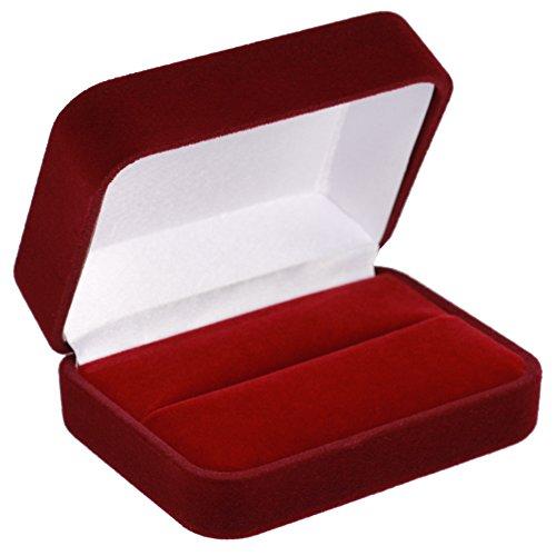 EYS JEWELRY Schmuck-Etui für Trauringe Freundschaftsringe Partnerringe 70 x 60 x 30 mm Samt bordeaux-rot Trauring-Box Ring-Schachtel Schatulle Geschenk-Verpackung