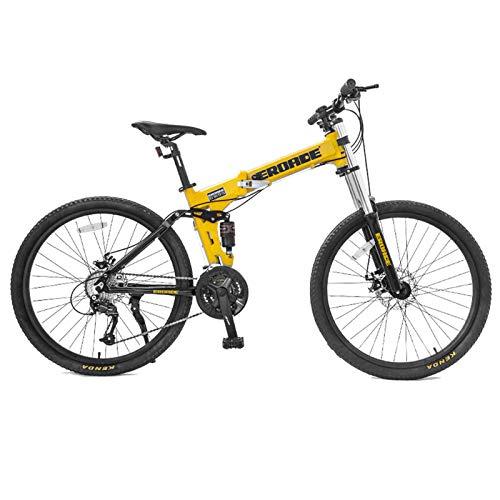 QMMD Bicicleta Montaña Plegable, 26 Pulgadas Adulto Bicicleta De Montaña Portátil, 27 Velocidades Bicicleta BTT Doble Suspensión, Freno Disco Bicicleta de Ciudad,26 Inch Yellow,27 Speed