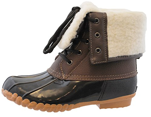 sporto Womens Duck Boots with Lace-Up Closure (Delmar) Waterproof Insulated Mid-Calf Winter Boots for Comfort, Durability - Keeps Feet Warm & Dry Brown
