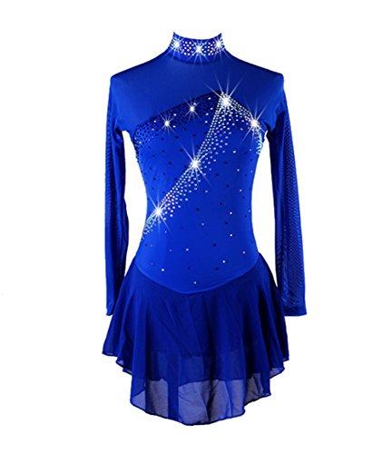 LNIGHT フィギュアスケート ダンス衣装 アイススケートウェア 立ち襟 長袖 専用レオタード ワンピース レッスン着 競技 ダンスウェア(L)