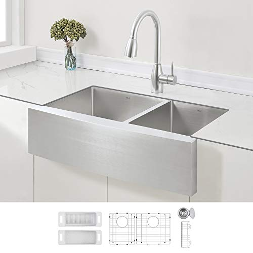 ZUHNE 33-Inch 60/40 Double Bowl Stainless Steel Farmhouse Kitchen Sink