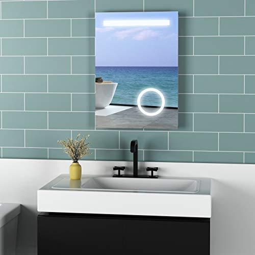 Meykoers Wandspiegel Badezimmerspiegel 50x70cm mit Kippschalter, Vergrößerung, Beschlagfrei und Steckdose, LED Badspiegel mit Beleuchtung Kaltweiß 6400K Energieklasse A++