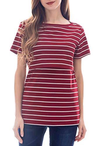 Smallshow Camiseta de Verano de Manga Corta a Rayas para Lactancia Materna Camiseta de Lactancia para Mujer Wine Medium