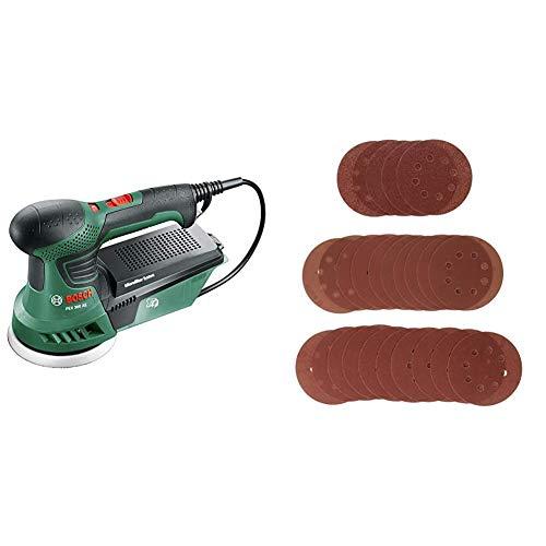 Bosch Exzenterschleifer PEX 300 AE (1x Schleifpapier, Koffer, 300 Watt) + Bosch Schleifblatt-Set 25tlg. (Hart- und Weichholz, Holzwerkstoffe, Spanplatten und Metall, für Exzenterschleifer)