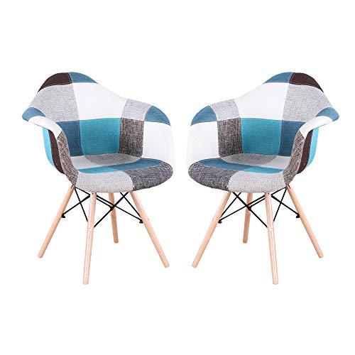 Home Office Sessel Patchwork Stoff Esszimmerstühle 2er Set mit Metallrahmen und Buche Material Beine Seitenstuhl für Home Esszimmer Küche Wohnzimmer Schlafzimmer