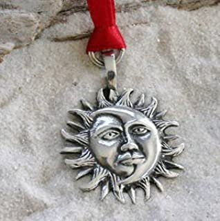 Trilogy Jewelry Pewter Sun Moon Face Lunar Solar Celestial Pagan Christmas Ornament and Holiday Decoration