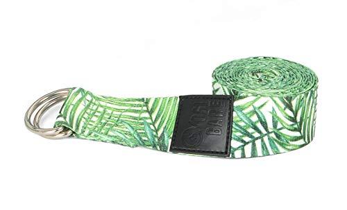 Yogi Bare Yoga Strap – Hållbart 182 cm stretchbälte med justerbara D-ringspännen - Palm