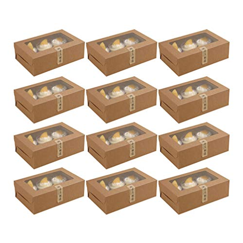 Toddmomy Panadería Desechable Marrón 6 Cuadrículas Cajas de Papel para Cupcakes Carrier...