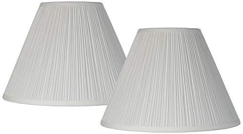 Set of 2 Antique White Pleated Medium Empire Lamp Shades 6.5