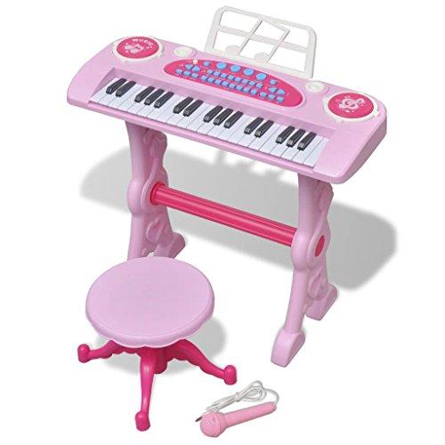 vidaXL Kinder Piano Keyboard Hocker Klavier Spielzeug Mikrofon Musikinstrument