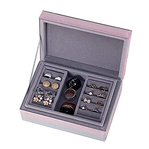 erddcbb Organizador de Caja de joyería Caja de joyería Cristal de 2 Capas Cofre de joyería Gradiente Organizador de Caja de joyería de Estilo Simple