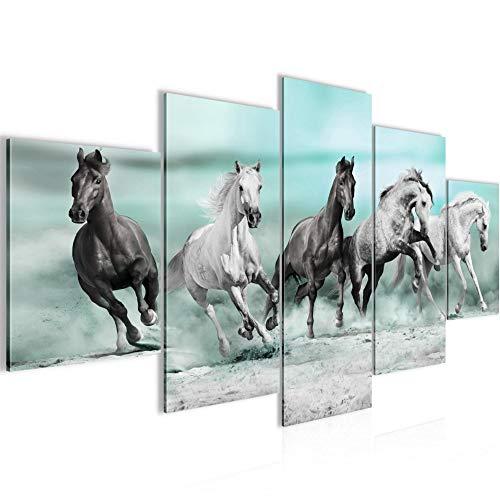 Bilder Pferde Wandbild Vlies - Leinwand Bild XXL Format Wandbilder Wohnzimmer Wohnung Deko Kunstdrucke Blau 5 Teilig - MADE IN GERMANY - Fertig zum Aufhängen 014153b