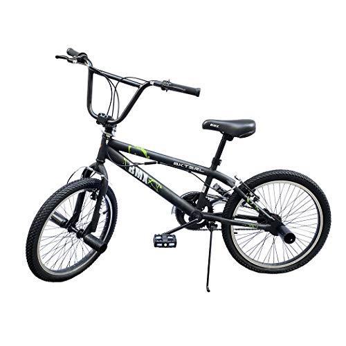Mediawave Store - Bicicletta BMX FreeStyle Bici con Telaio in Acciaio Jumper SPOKES WHEEL Bicicletta Misura Taglia 20 Pollici con Sterzata di 360°, BMX Freestyle (Nera)