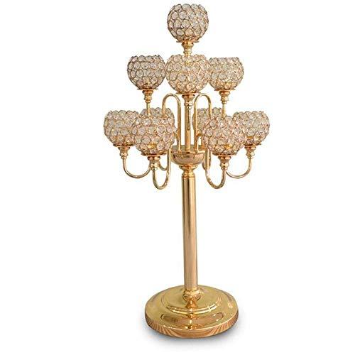 Ornamenten Kaarsenstandaarden 10PCS / LOT Metal Gold Kaarsenstandaarden 83cm 5-armen met Kristallen Stand Pillar Kandelaar for Bruiloft Kandelaar (Kleur: zilveren kandelaars, Grootte: 1)