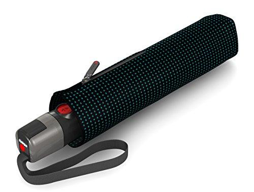 Knirps T.300 Taschenschirm Duomatic Watson Aqua - inkl. Futteral im Schirmdesign - Schutz für 2 Personen - 100% Polyester - Windkanal getestet - robust, stabil, kompakt&komfortabel
