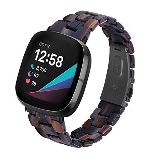 Jennyfly Versa Bracelet de montre fin en résine avec boucle en acier inoxydable réglable de 14 à 20 cm pour Fitbit Sense/Versa 3