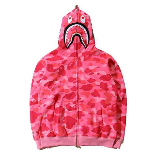 Shark Jaw Camo Full Zipper Hoodie Men's Sweats Coat Jacket Thicken (Color:5, XL)