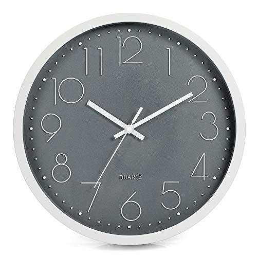 LENRUS Reloj de pared de 30 cm, moderno, de cuarzo, silencioso, segundero silencioso sin tictac, color gris