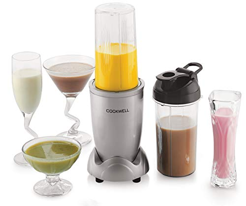 Cookwell Bullet Mixer Grinder, 500W (5 Jar 3 Blades, Silver)