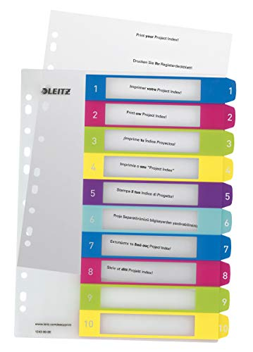 Leitz Register für A4, PC-beschriftbares Deckblatt und 10 Trennblätter, Taben mit Zahlenaufdruck 1-10, Überbreite, Mehrfarbig, Polypropylen, WOW, 12430000