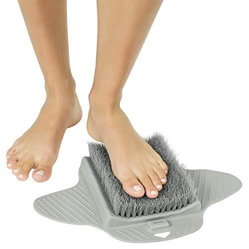 Powcan Duschfuß Scrubber Badewannenbodenbürste zur Reinigung von Fußsohlen und Callus - Rutschfeste Saugnäpfe, Akupressurmassagematte Fußreiniger
