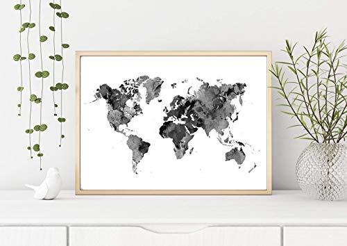 Print Weltkarte schwarz weiß Aquarell A3