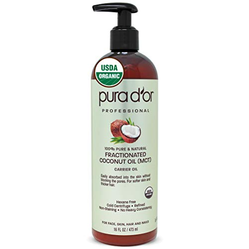 PURA D'OR Organic Fractionated Coconut Oil 16oz / 473ml USDA Certified 100% Pure amp Natural MCT Oil Sustainably Sourced Hexane Free Moisturizing Carrier Oil For Face Skin amp Hair Packaging may vary