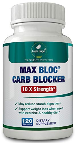 MAX BLOC Carb Blocker for Weight and Keto Support - World 1st 10X Carb Blocker with Zero Lectin - 120 Capsules