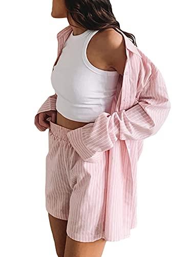 Conjunto casual de 2 piezas para mujer, de manga larga, cuello con botones, camiseta de verano Y2K Streetwear, rosa, L
