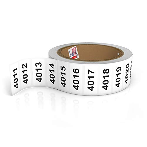 """Consecutively Numbered Labels. Measure: 1.5"""" X 0.75"""" Paper Material (Various Number Sequences Available) (4001-5000)"""