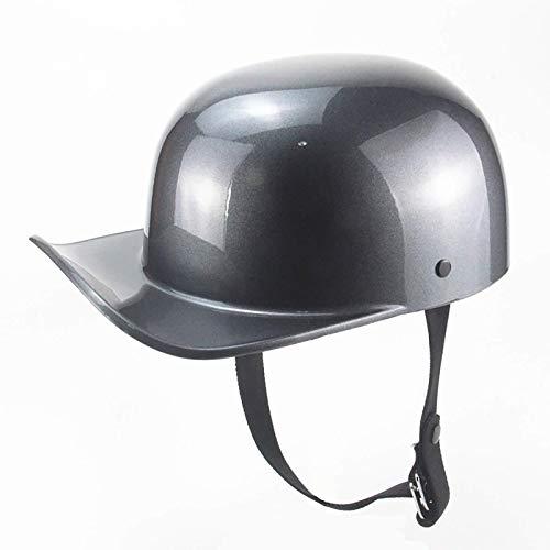 ACEMIC Casco antiguo de béisbol para hombre y mujer con certificación DOT para adultos, casco de motocicleta abierto, para coche, crucero, ciclomotor, casco B, L = 56 ~ 58 cm