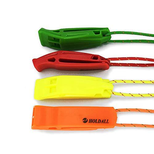 Sifflet de secours HoldAll avec dragonne (lot de 4) pour extérieur, sifflet de détresse pour kayak, bateau et signalisation