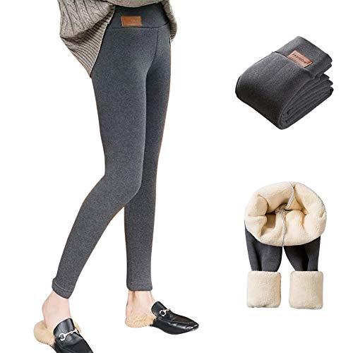 Leggings Cálidos para Mujer Leggings Térmicos Mujer Cintura Alta Elásticos Pantalones Mallas de Deporte de Mujer Leggings Invierno (Gris A, XXXL)