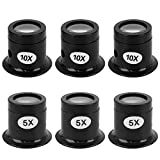 6 Pieces Eye Loupe Set, 5X 10X Watch Repair Loupe Magnifier Black Watchmaker Magnifying Glass for Watch Jewellery Electronic Repair