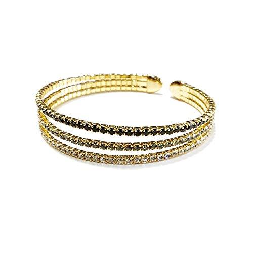 Pulsera brazalete Pertegaz colección Kylie dorada triple banda adaptable abierta piedras circonitas