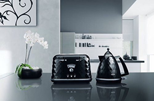 De'Longhi Brilliante 4-slot toaster, reheat, defrost & 6 browning settings, removable crumb tray, CTJ4003BK, Black