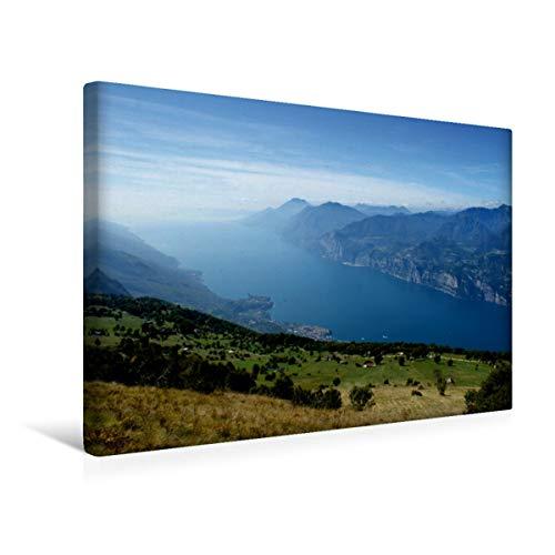 Calvendo Premium Lienzo 45 cm x 30 cm horizontal, Monte Baldo en Italia, imagen sobre bastidor, imagen lista para lienzo auténtico, impresión en lienzo: vista de los lugares de Garda