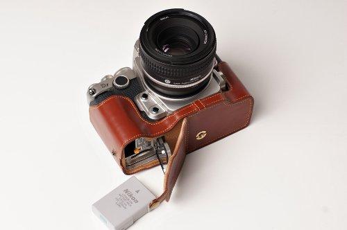 Nikon ニコン Df用本革カメラケース(電池,SDカード交換可) ブラック、 ブラウン (カメラケース&ストラップLK1881&バッテリーケース, ブラウン)