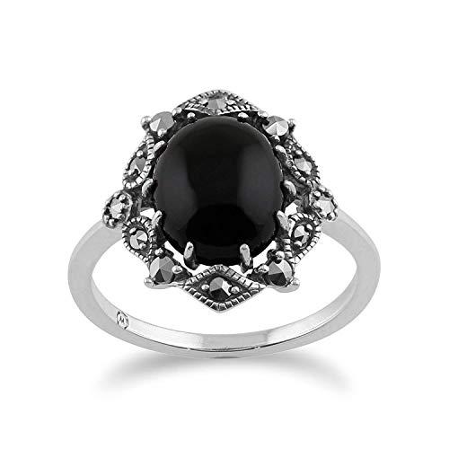 Gemondo 925 STERLINGSILBER JUGENDSTIL VINTAGE inspiriert Onyx & Markasit Ring