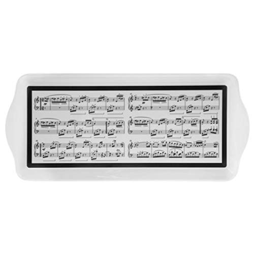 Les Trésors De Lily [Q5539 - Plateau à Cake 'Musique' Blanc Noir - 39x17.5 cm