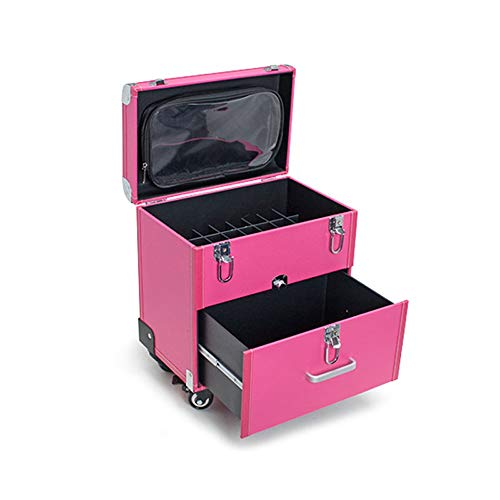 WSJTT Maquilleur Maquillage de Rolling Trolley Artiste Case Organisateur cosmétiques Case Haute capacité avec tiroir Tattoo Universel Roue Clou spécial Boîte à Outils de Rolling Case Voyage