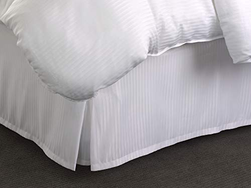 Find Discount Westin Hotel Bed Skirt – White Bed Skirt with Signature Shadow Stripe – King (76″ x 80″ x 15.25″)