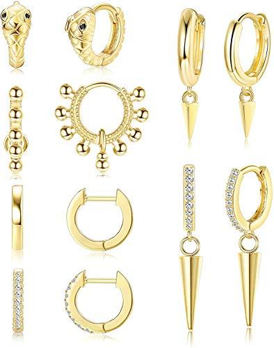 Milacolato 6 paia di orecchini a forma di palla in acciaio inossidabile per donna, uomo, orecchini a forma di serpente, orecchini a cerchio con ciondoli geometrici, zirconi piccoli