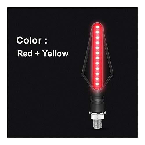 MLX Motorrad Blinker LED Lichter Blinken DRL Bremsstreifen LED Blinker Fließende Motorrad-Anzeigeleuchte Signal for Honda QMTZSD (Color : Red Yellow)